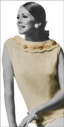 Flower Bordered Shell Vintage Knitting Pattern for download - Sizes 10, 12, 14, 16 - Width around underarms: 35 1/2, 36, 37 1/2, 40 inches