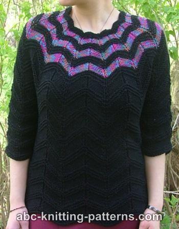 Free Knitting Pattern - Women's Sweaters: Falling Stars Top Down Sweater