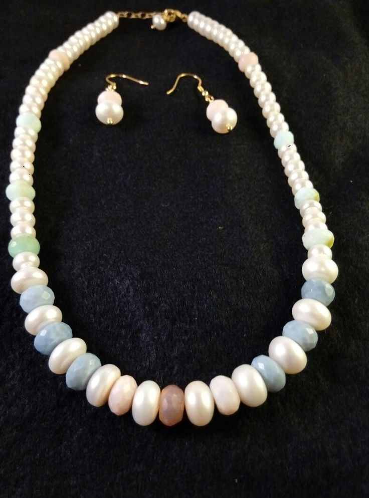 Cultured Pearl & Coloured Opal Necklace & earing set. 9 ct gold on Sterling Silver. Hazelrocks.