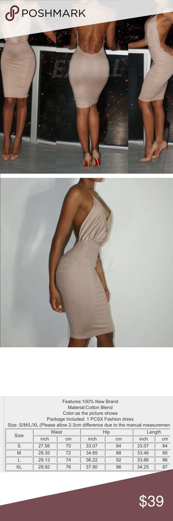 🆕Deep V-neck Bandage Backless Dress NWOT Brand new in excellent new condition. Show off your curves with this sexy deep V-neck bandage backless evening bodycon dress. Pair it with heels and you're good to go. Super soft. See measurements above. Cream color. Size Small. PRICE FIRM unless it's bundled. Boutique Dresses Mini