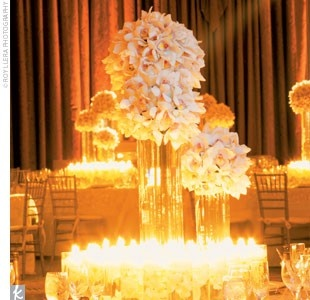 : Orchids Centerpieces, Receptions Centerpieces, White Flower, Wedding Receptions, Floating Candles, Candles Centerpieces, Dendrobium Orchids, White Candles, Cymbidium Orchids