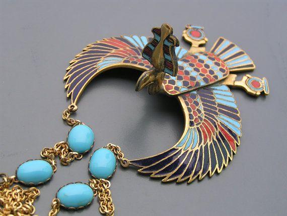 Huge Vintage Detailed Egyptian Revival Vulture Enamel by PritiStar, $255.00