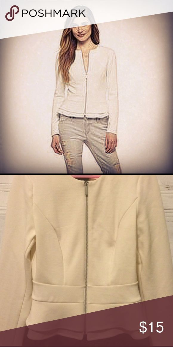 Mossimo Cream Zip Up Peplum Jacket Cream Size XL Mossimo Cream Zip Up Peplum Jacket Cream Size XL - great for business meeting or night out with friends ASOS Jackets & Coats Blazers