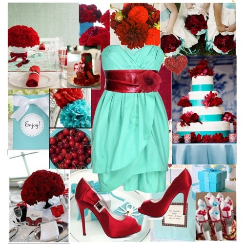 if you haven't noticed, aqua and red are our wedding colors :)