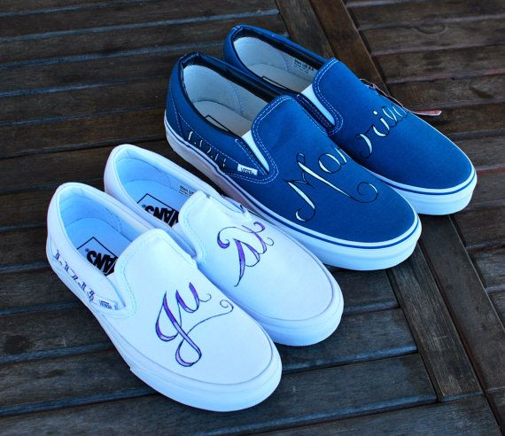 Just Married Custom Wedding Vans shoes by BStreetShoes on Etsy, $199.00