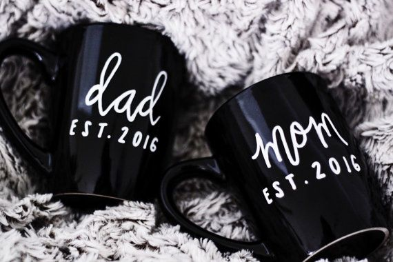 Mom and Dad Mug Set with Custom Established by ivoryandcompany