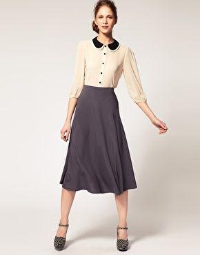 SKIRT Dansk Flirty 40's Style Midi Skirt in Gray