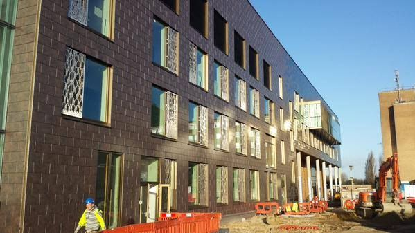The New QEII Hospital - looking good in the winter sunshine as almost 200 people work towards its completion in Spring 2015