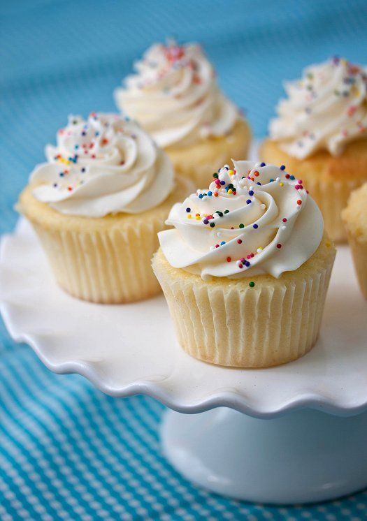 WONDERFUL vanilla cupcakes...so simple but taste perfect. Go-to recipe for making cupcakes for birthdays that impress!