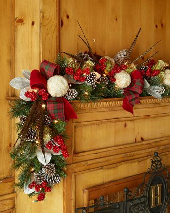 Pinecone burlap plaid ribbon Christmas Garland