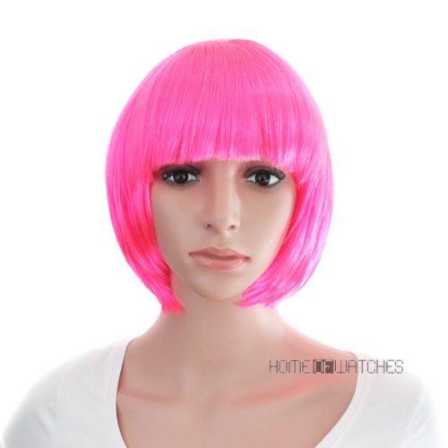 Экспресс-доставка в США Мода Боб Стиль Синтетический Розовый Рыжие Волосы Женщин Прямой Короткий Косплей Полный Парик s0274