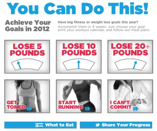 Lose 5, 10, or 20+ pounds, tone up, and start running printables for 4-week workout plans.
