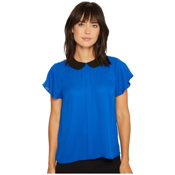 CeCe Short Sleeve Contrast Peter Pan Collar Blouse (Deep Royal Blue)... ($56) ❤ liked on Polyvore featuring tops, blouses, peter pan collar blouse, electric blue top, blue short sleeve top, royal blue blouse and star blouse