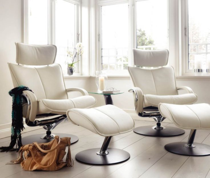 Attractive Furniture, The Beautiful White Small Reclining Chairs With Circle Lags On  White Floor Also White Glass Window On White Wall In The Room In The House:  The ...