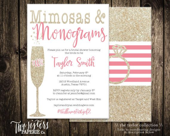 monograms and mimosas bridal shower invitation taylor collection mimosas monograms bridal brunch invitation monogram brunch in 2018 wedding