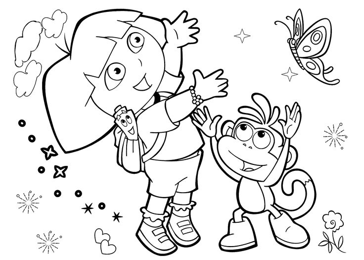Free dora the explorer halloween coloring pages ~ Dora coloring pages with friends printable free | Coloring ...