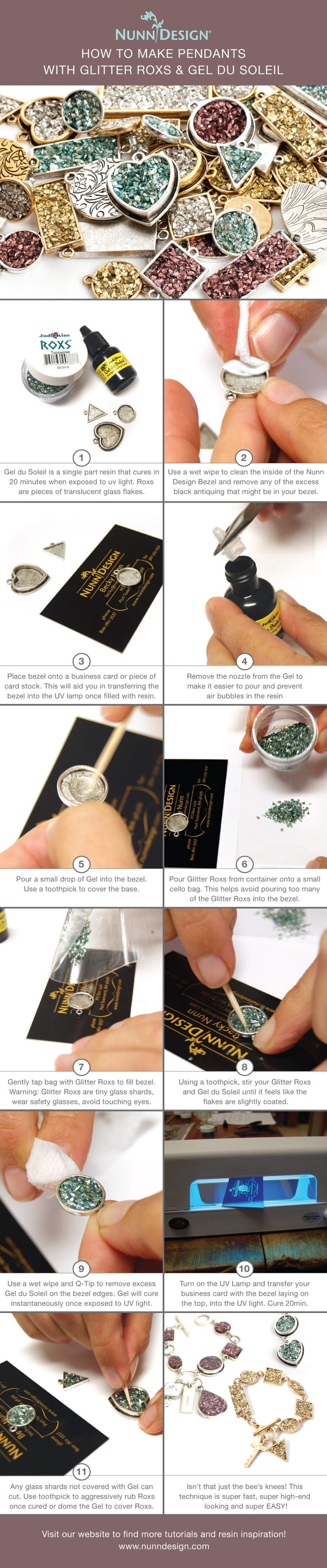 How to Make Pendants with Glitter Roxs & Gel du Soleil to create a Faux Druzy look! Gel du Soleil is a UV light sensitive resin that cures in 20 minutes when exposed to UV light. Because it is UV light sensitive, all aspects of the Gel du Soleil MUST be exposed to UV light in order for a piece to cure. This makes Glitter Roxs perfect to use since they are small pieces of translucent glass flakes. Because of their translucent quality, they fit the necessary restriction of curing success…