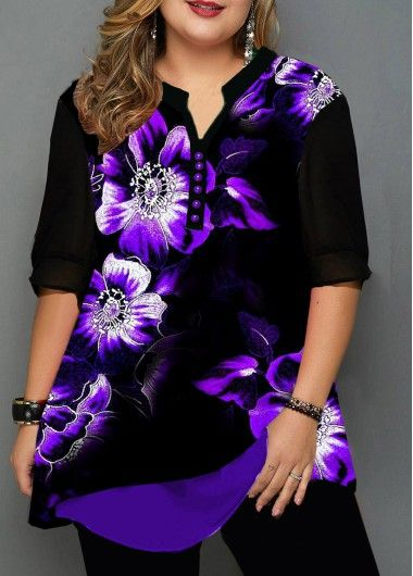 Plus Size Tops For Women Plus Size Split Neck Large Floral Print Blouse