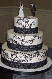 #white #Wedding #Cake #Black #Lace www.secondslices.com