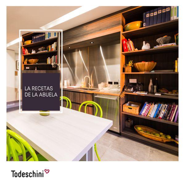Los libros de recetas merecen su lugar en la cocina. Una biblioteca diseñada especialemente para tener a la mano las mejores ideas.  #Diseñodeinteriores #Decoración #Todeschini #ambientes #mueblesamedida #arquitectura #cocinas