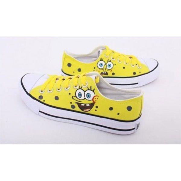 Low SpongeBob SquarePants Yellow 3 Hand Painted Shoes