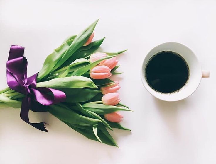 #tulips #coffee #pink #purple #morning #flowers