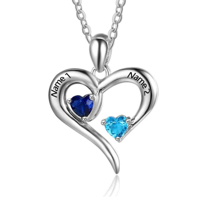 Post Included Aus Wide and to most international countries! >>>  Open Love Double Birthstone Necklace - 925 Sterling Silver