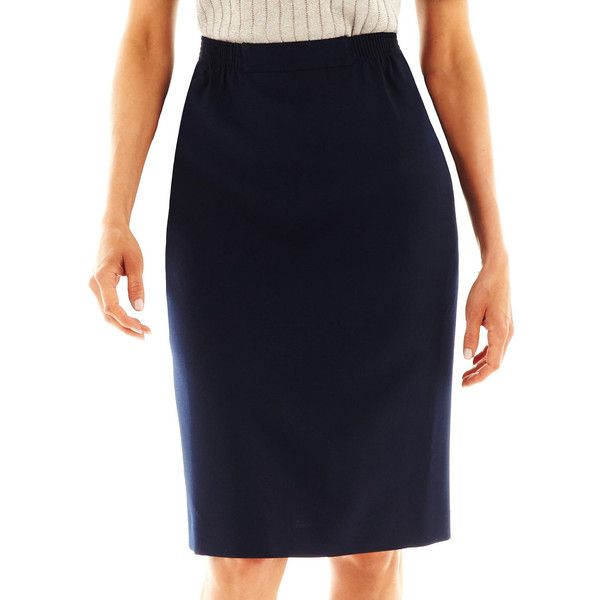 Alfred Dunner Pencil Skirt Blue ($25) ❤ liked on Polyvore featuring skirts, navy, petite pencil skirt, elastic waist pencil skirt, navy blue knee length skirt, elastic waist skirt and knee length pencil skirt