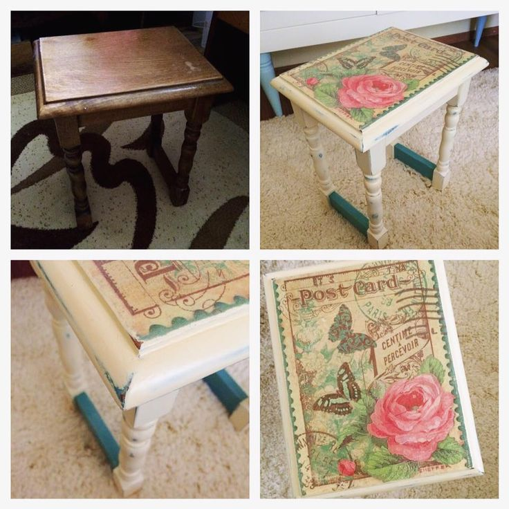 Before and after - ASCP - Annie Sloan chalk paint - Restored - Decoupage - Distressed look