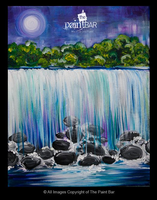 Moonlit Niagra Falls Painting - Jackie Schon, The Paint Bar