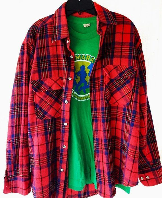 ON SALE Vintage Red tartan PlaidChecked Long sleeve Cotton Blouse from 80/'s