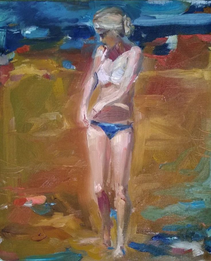 Original Painting, collected Artist Samuel Burton Girl walking on beach oil