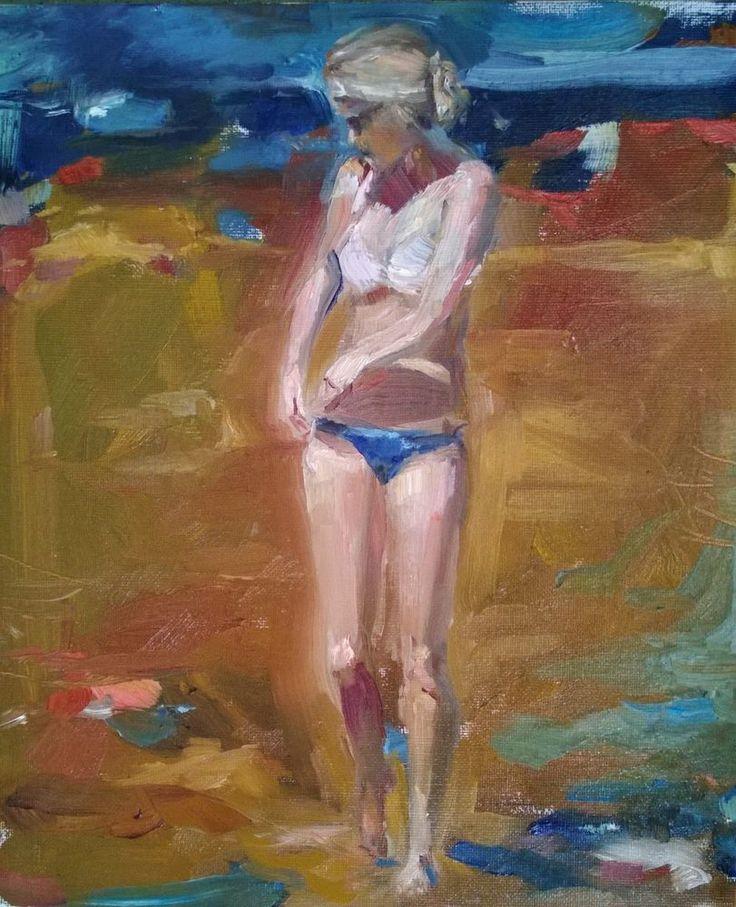 Original Painting, collected Artist Samuel Burton Girl walking on beach oil