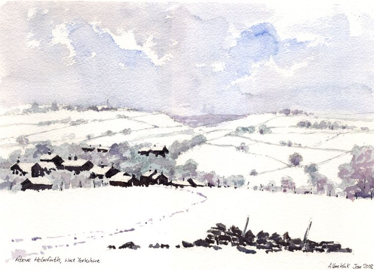 Above Holmfirth, West Yorkshire watercolour, Allan Kirk
