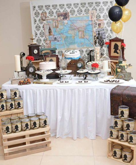 Amazing Sherlock Holmes birthday party! See more party ideas at CatchMyParty.com!