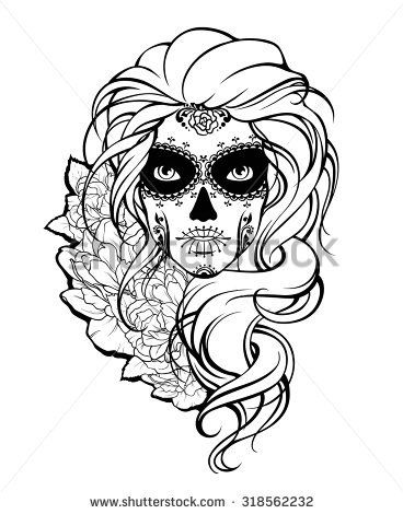 Skull Girl And Flowers Black And White Illustration Coloring