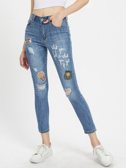 Knee Ripped Jeans With Patch