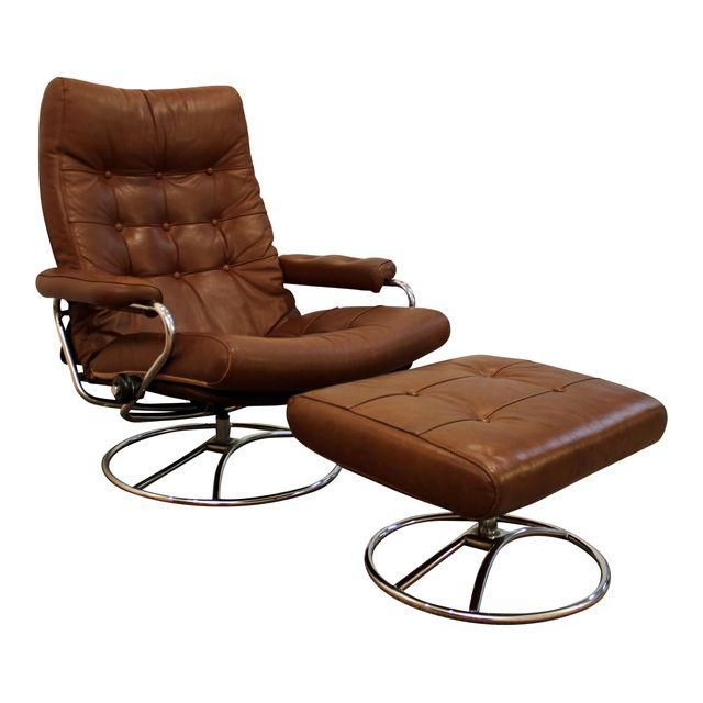 Image of Mid-Century Danish Modern Ekornes Stressless Recliner Lounge Chair & Ottoman