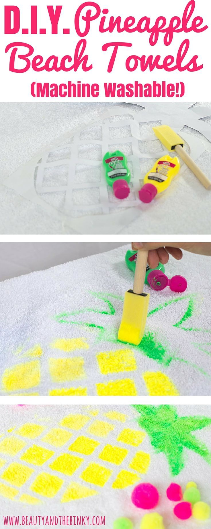 A tropical Summer DIY to create the cutest pineapple beach towel! #sponsored #BringTheTropicsHome:
