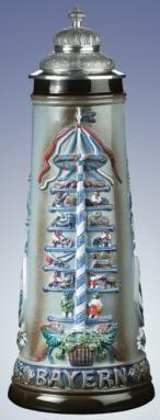 German Beer Stein 2L Bavarian May Pole