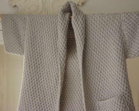 Tuto gratuit d'une veste-femme au point de blé qui se tricote avec des aiguilles…