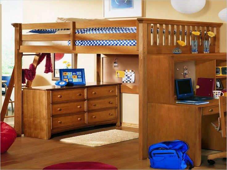 Bed High Off Ground Part - 35: Teenage Loft Bed With Desk
