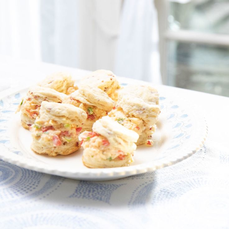 Pimiento Cheese And Ham Scramble: Country Ham Biscuits And Scallion-Pimento Cheese
