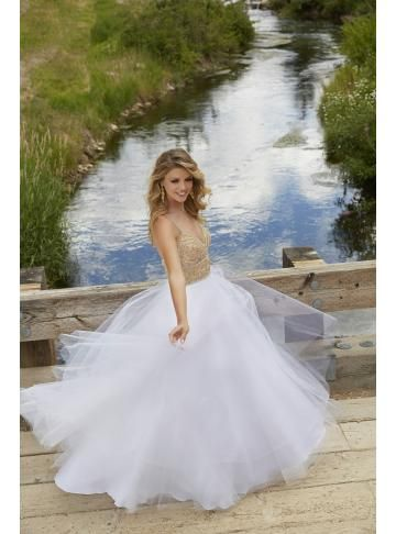 garden tulle a-line bridal wedding dress