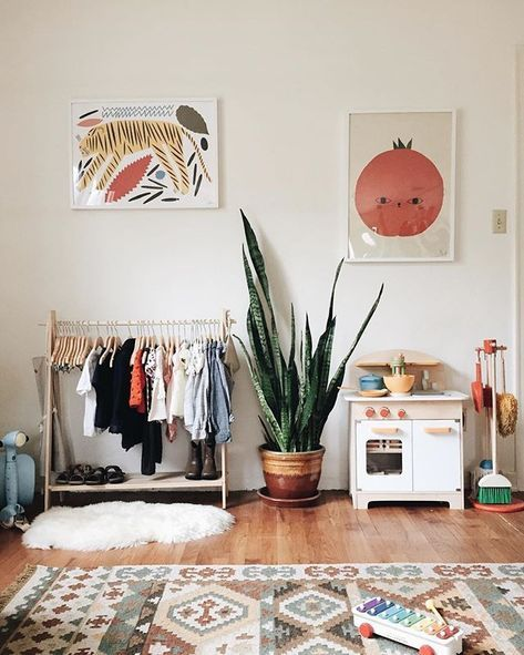 rearranging the kids' room today. edith is crawling around now, so i need to get her a space set up! #calivintagehome #montessoriathome