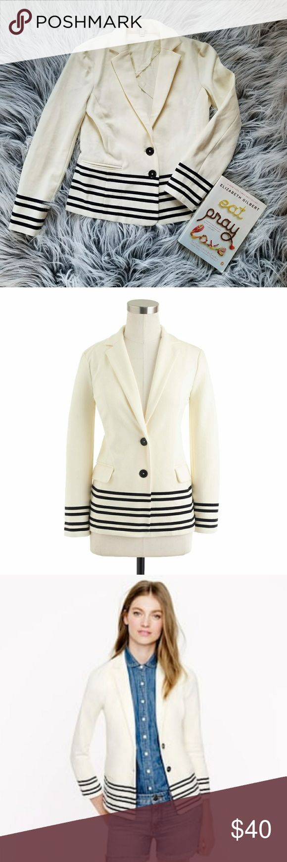 J crew maritime blazer with navy stripes Super cute J Crew blazer. Ivory with navy stripes and two buttons. Dress up or down perfect for work and going out! Excellent perfect condition.  From the J Crew site- Crafted from a knit ponte cotton that's soft and structured, our maritime blazer is super flatteringandsuper comfortable. It's updated for the season with a nautical-inspired placed stripe, along with partial lining: key to creating a smooth but slim silhouette, it's a dapper detail…