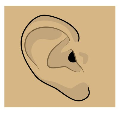 A simple cartoon ear made with complex shapes and warm colors.