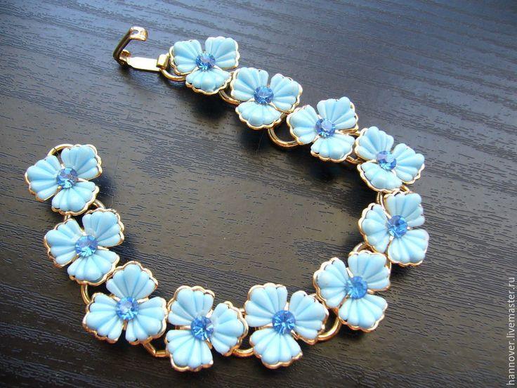 Купить Винтажный браслет «Незабудки на руке», 70-x годов - голубой, браслет, браслет на руку
