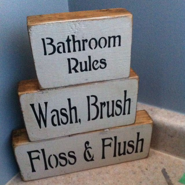 Bathroom rules- Primitive style- my kids have issues remembering all of these lol...