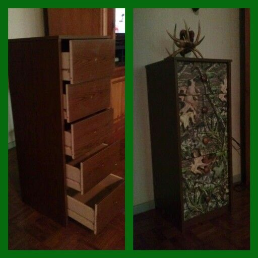 Easy breezy!  Took n old, partical board chest of drawers and covered only the drawers with mossy oak, Camo contact paper. And one hour later, my husband has a great place to store his hunting clothes.